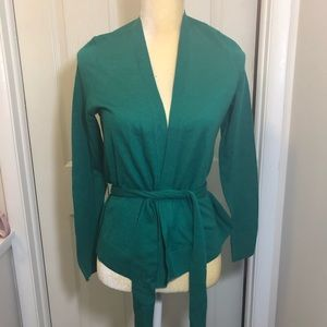 Halogen Green Wrap Cardigan Belted Sweater XS NWT
